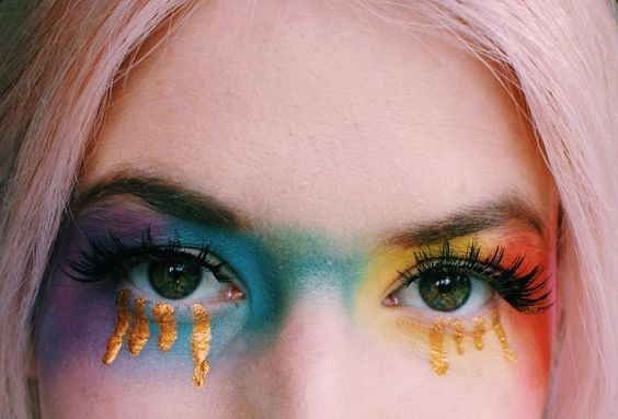 rainbow eye look pride with gold tears