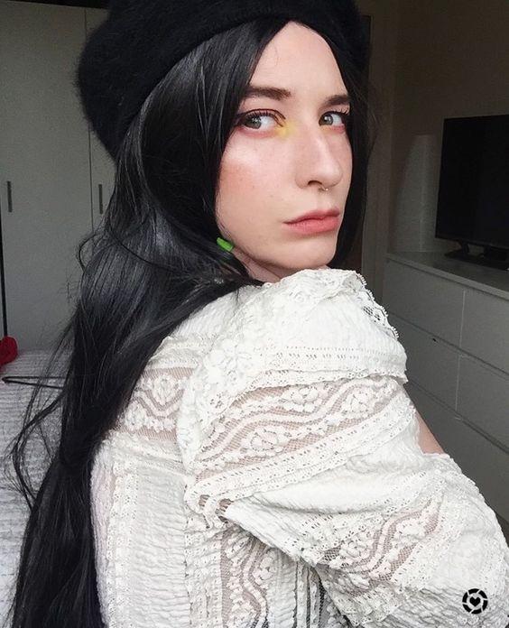 gothic black wig morticia