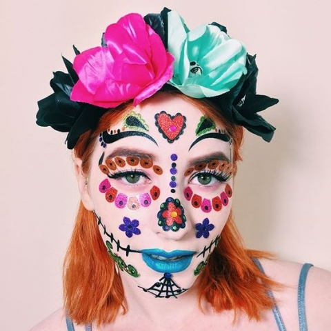 day of the dead, skull, flowers,