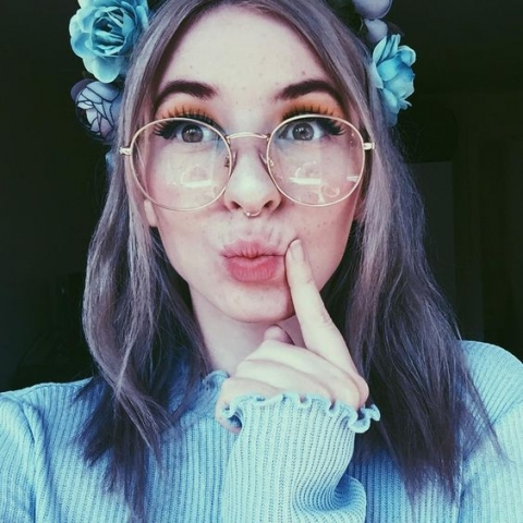 cute false lashes floral headband glasses