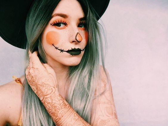 pumpkin, pumpkin lady, scarecrow, makeup, cosmetics