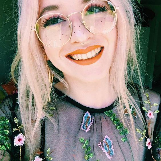 orange lime crime lipstick freckles glasses