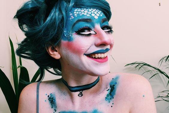 cat fish, mermaid, cat, halloween