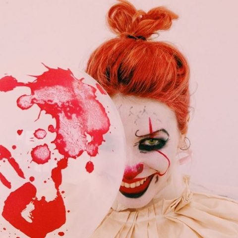 it movie, clown makeup, cosmetics, wig, ginger, beauty