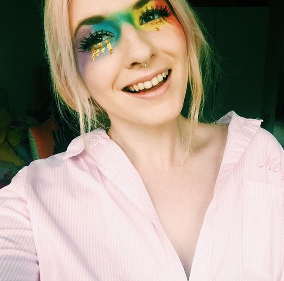 rainbow make up pride gold tears